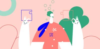 ilustracja, różowe tło, czerwony ludzik a wokół puzzle
